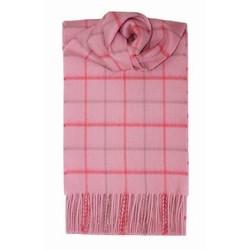 Windowpane Pink Cashmere Scarf